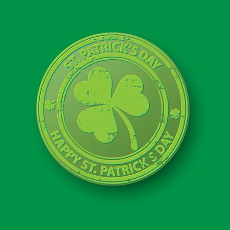 Green grunge rubber stamp with clover on green background, illustration Illustration