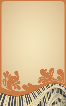 piano background: old musical frame with piano keyboard and forish vintage