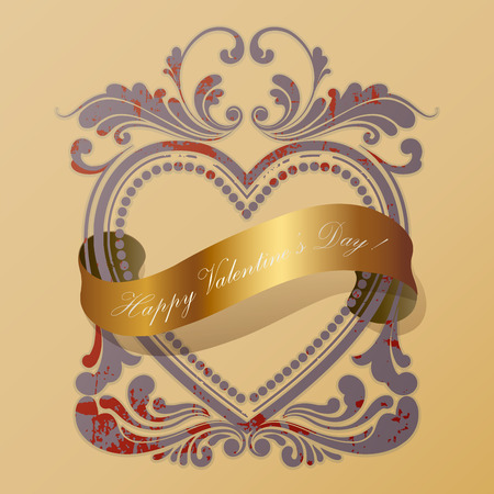 heart old frame with a golden ribbon Vector