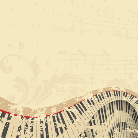 grunge musical background with piano keyboard