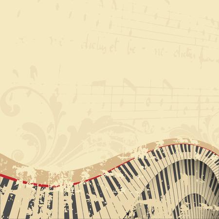 grunge music background: grunge musical background with piano keyboard
