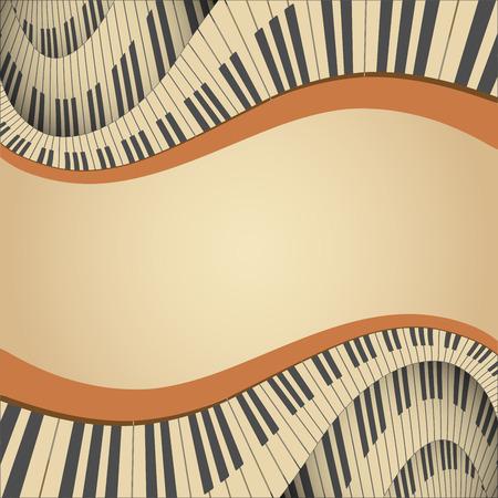 piano: antiguo marco musical con el teclado del piano, ilustraci�n vectorial
