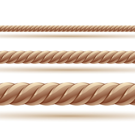 fastening: Rope in three sizes. Seamless vector.Clip art illustration