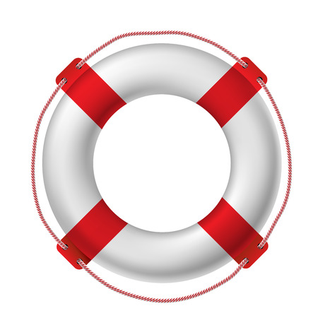 СОС: White life buoy, vector illustration. Иллюстрация