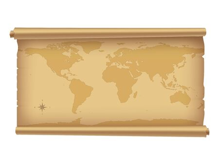 contain: Parchment with world map isolated on white. | Vector illustration. | Contain gradient mesh.