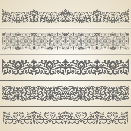 floral ornaments: Seamless borders set 3