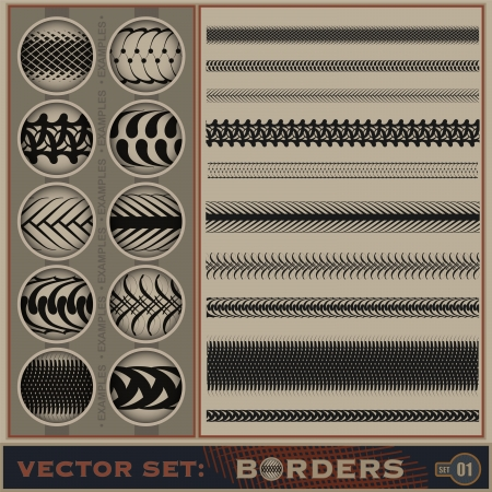 Seamless borders set    Stock Vector - 14683401