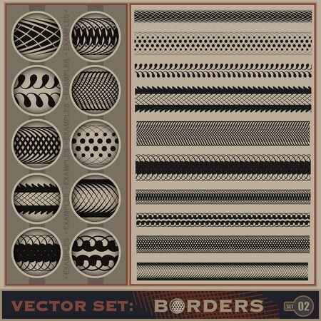 Seamless borders set    Stock Vector - 14683404