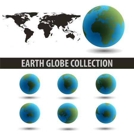 Earth Globes Collection end a map isolated on white     Illustration