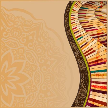musical background with abstract grungey piano keyboard and greative design elements