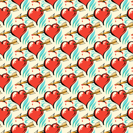 Seamless pattern of hand drawing hearts.