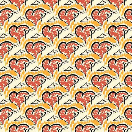 Seamless pattern of hand drawing hearts and arrows.