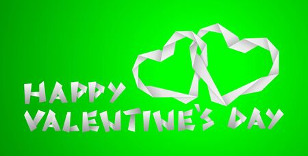 valentine paper hearts on the green background photo