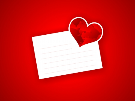 valentine letter with the red abstract hearth photo