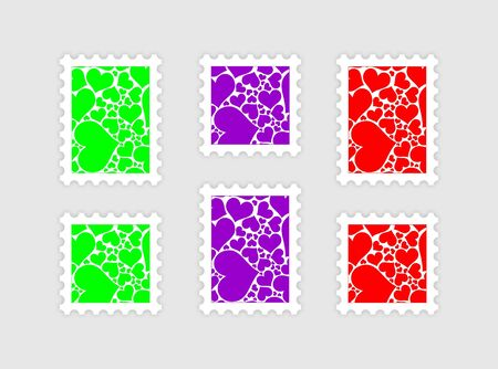 postage stamps with the abstract valentine picture photo