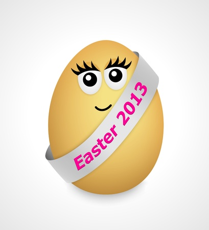 cartoon egg with face and silver ribbon photo