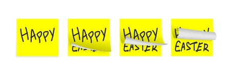 set of few little easter yellow adhesive papers photo