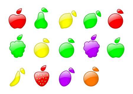 set of color fruit - apples, pear, lemon, lime, grape, strawberry, orange photo