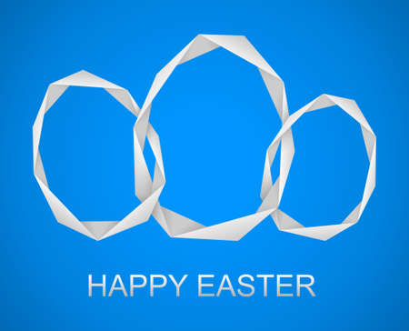 ornamente: blue easter greeting with the paper eggs