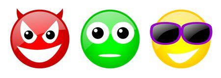 conjunto de tres colores emoticones con la cara Foto de archivo - 18601605