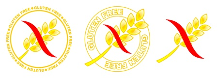 gluten free: three yellow gluten free icons with red curve