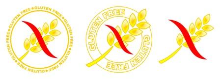 produits c�r�aliers: trois jaunes ic�nes sans gluten avec courbe rouge Banque d'images