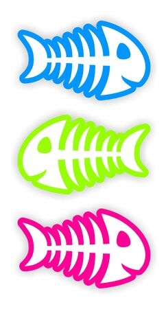 set of three color fish bone stickers Stock Photo - 19359416