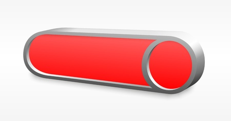 3D red rounded button with metal edge photo