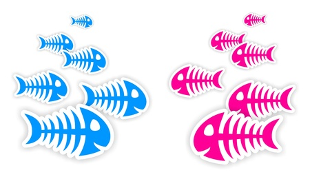 background with blue and pink fish bone stickers with shadow photo