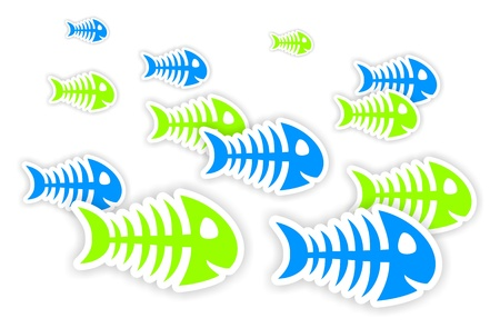 dead fish: background with blue and green fish bone stickers with shadow