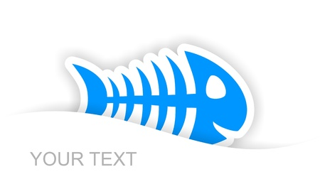 blue fish bone sticker notification with light shadow effect photo