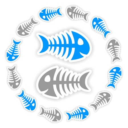 background with blue and gray fish bone stickers with shadow photo
