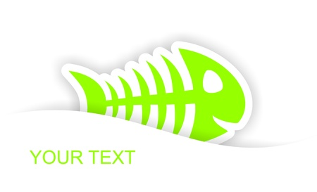 green fish bone sticker notification with light shadow effect photo