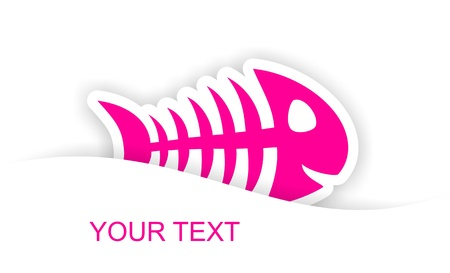 pink fish bone sticker notification with light shadow effect photo
