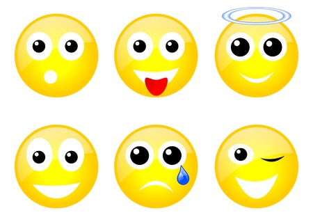 set of six yellow emoticons with face photo