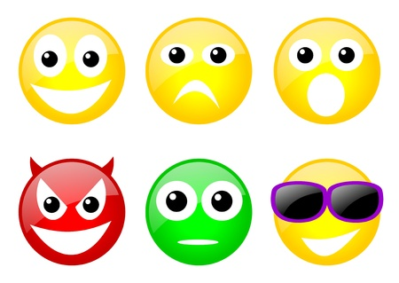 set of six color emoticons with face photo