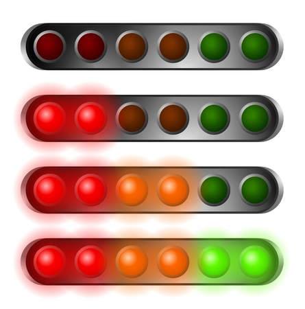 set of red, orange and green start lights contains six bulbs photo