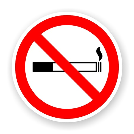 sticker of no smoking sign with shadow