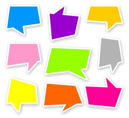 Stickers van kleur comics tekst bubbels met schaduw Stockfoto - 20613583