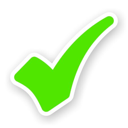 sticker of green check mark with light shadow photo