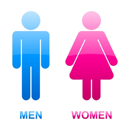 nude man: glossy stickers of men and women toilet symbols