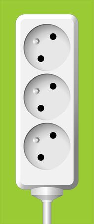 white realistic electric triple socket on color background photo