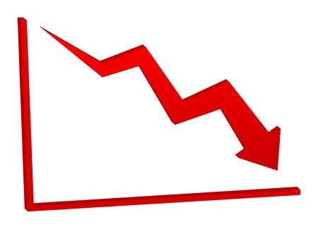 3D decreasing red arrow on the chart Banco de Imagens