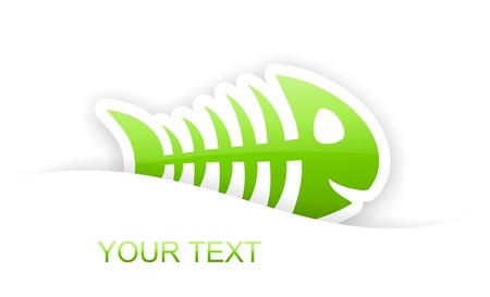 green glossy fish bone sticker notification with light shadow effect photo