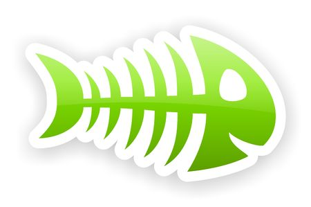green glossy fish bone stickers with light shadow effect Stock Photo - 22575389