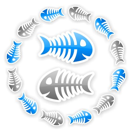 blue and gray glossy fish bone background with light shadow effect Stock Photo - 22577458
