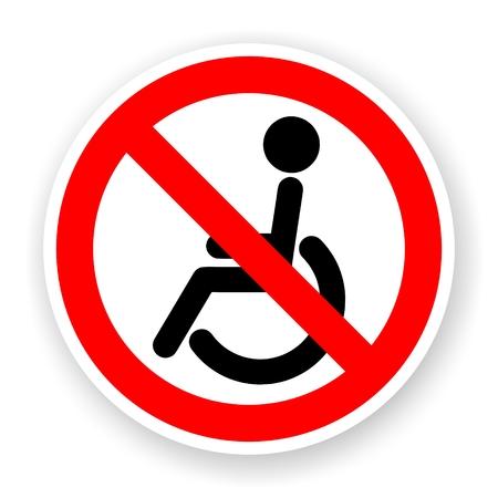 sticker of no wheelchair sign with shadow Banco de Imagens