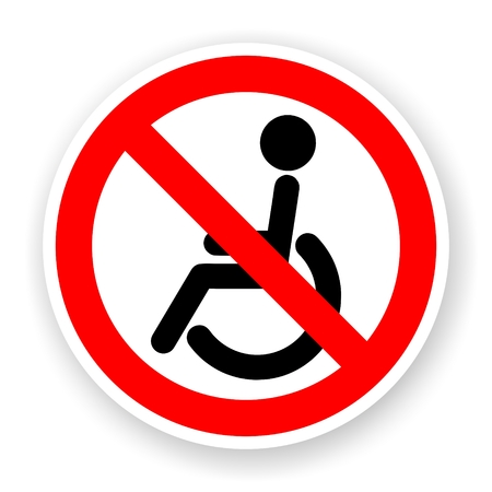 sticker of no wheelchair sign with shadow Stockfoto