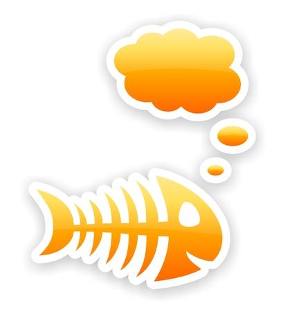 orange glossy thinking fish bone stickers with light shadow effect Stock Photo - 23027676