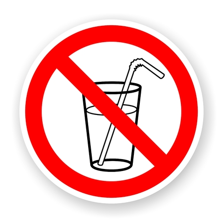 sticker of no drink sign with shadow photo